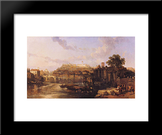 Rome, View On The Tiber Looking Towards Mounts Palatine And Aventine: Modern Black Framed Art Print by David Roberts