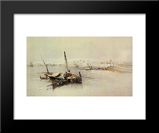 Saint Jean D'Acre, From The Sea: Modern Black Framed Art Print by David Roberts