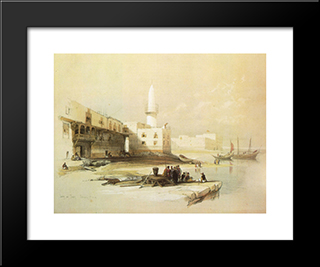 Scene On The Quay Of Suez: Modern Black Framed Art Print by David Roberts