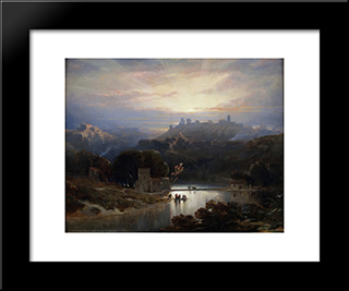 The Castle Of Alcala De Guada­ra: Custom Black Wood Framed Art Print by David Roberts
