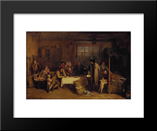 Distraining For Rent: Modern Black Framed Art Print by David Wilkie