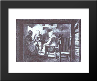 Reading A Tract: Modern Black Framed Art Print by David Wilkie