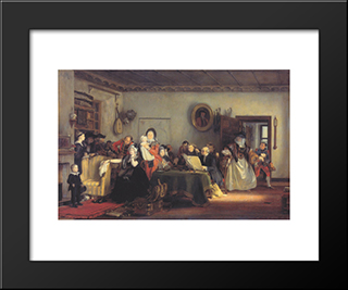 Reading The Will: Modern Black Framed Art Print by David Wilkie