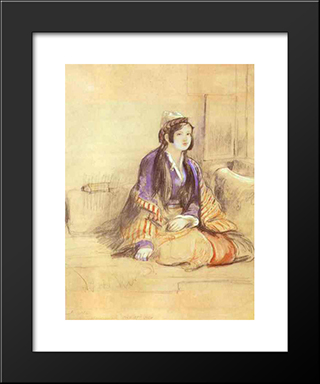 Seated Lady Of Constantinople: Modern Black Framed Art Print by David Wilkie