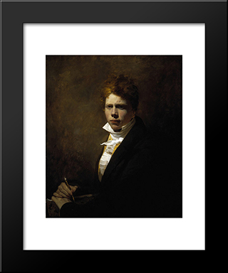 Self Portrait Aged About 20: Modern Black Framed Art Print by David Wilkie