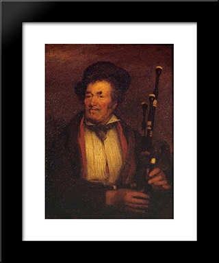 The Bag-Piper: Modern Black Framed Art Print by David Wilkie
