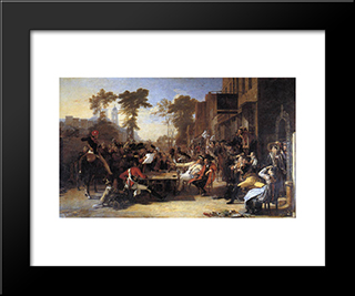 The Chelsea Pensioners Reading The Waterloo Dispatch: Modern Black Framed Art Print by David Wilkie