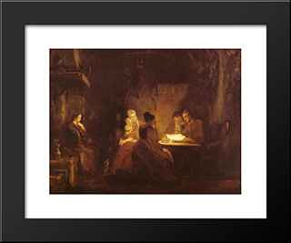 The Cotter'S Saturday Night: Modern Black Framed Art Print by David Wilkie