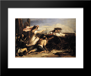 The Defence Of Saragoca: Modern Black Framed Art Print by David Wilkie