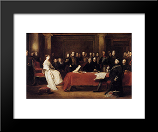 The First Council Of Queen Victoria: Modern Black Framed Art Print by David Wilkie