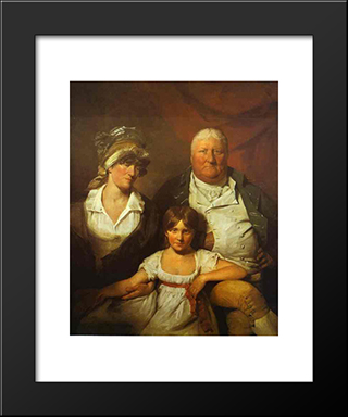 William Chalmers Bethune, His Wife Isabella Morison And Their Daughter Isabella: Modern Black Framed Art Print by David Wilkie