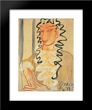 A Lady: Modern Black Framed Art Print by Ding Yanyong