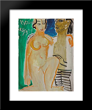 An Artist And His Model: Modern Black Framed Art Print by Ding Yanyong