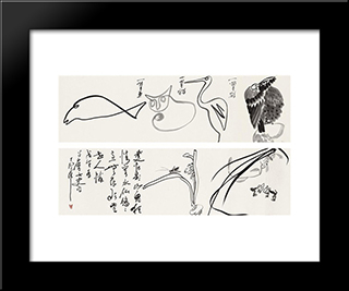 Animals And Plants: Modern Black Framed Art Print by Ding Yanyong