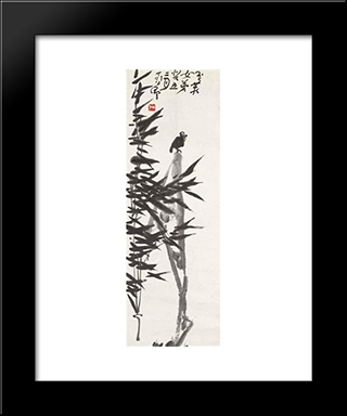 Bamboo And Bird: Modern Black Framed Art Print by Ding Yanyong