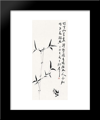 Bamboo And Frog: Modern Black Framed Art Print by Ding Yanyong
