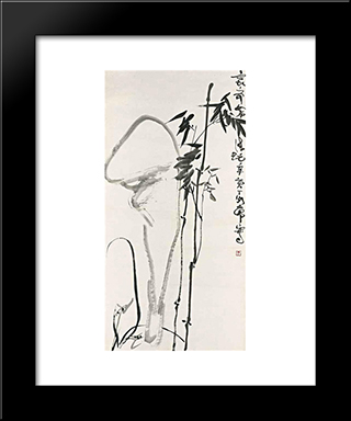 Bamboo And Rocks: Modern Black Framed Art Print by Ding Yanyong