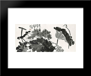 Bird And Lotus: Modern Black Framed Art Print by Ding Yanyong
