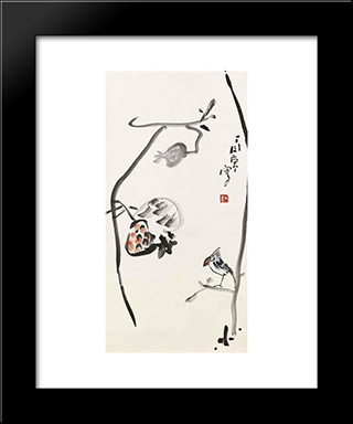 Bird And Pomegranate: Modern Black Framed Art Print by Ding Yanyong