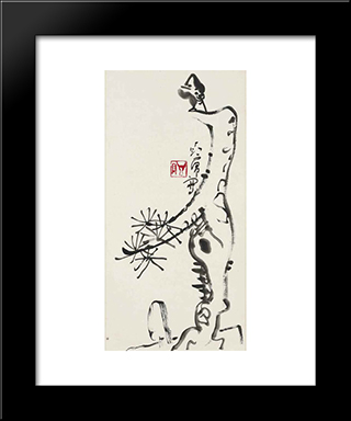 Bird On A Pine: Modern Black Framed Art Print by Ding Yanyong