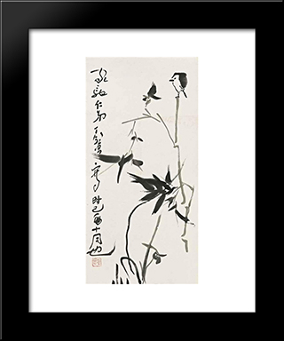 Bird On Bamboo Tree: Modern Black Framed Art Print by Ding Yanyong
