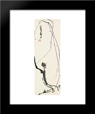 Bird On Willow Branch: Modern Black Framed Art Print by Ding Yanyong