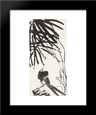 Bird Under Tree: Modern Black Framed Art Print by Ding Yanyong