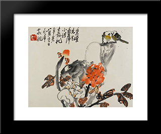 Birds And Peonies (Lovebirds): Modern Black Framed Art Print by Ding Yanyong