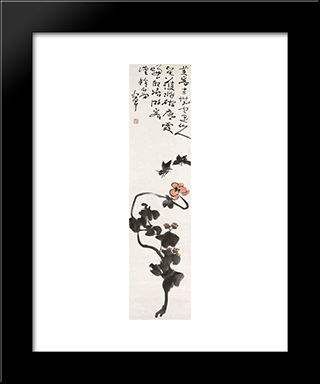Butterflies And Hibiscus: Modern Black Framed Art Print by Ding Yanyong