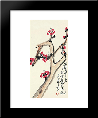 Camellia And Bird: Modern Black Framed Art Print by Ding Yanyong