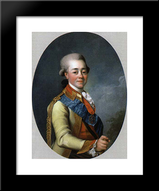 Paul I Of Russia: Modern Black Framed Art Print by Dmitry Levitzky
