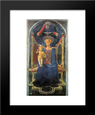 Madonna And Child: Modern Black Framed Art Print by Domenico Veneziano