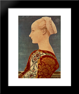 Portrait Of A Young Woman: Modern Black Framed Art Print by Domenico Veneziano