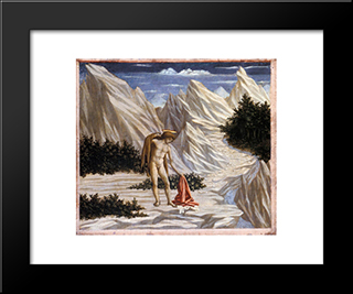 St. John In The Desert: Modern Black Framed Art Print by Domenico Veneziano