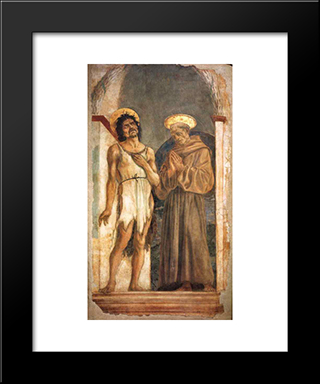 St. John The Baptist And St. Francis Of Assisi: Modern Black Framed Art Print by Domenico Veneziano