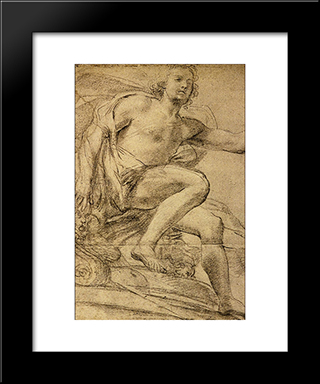 Study Of Apollo: Modern Black Framed Art Print by Domenico Veneziano
