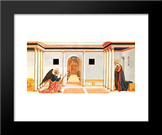 The Annunciation, Predella Panel From The St. Lucy Altarpiece: Modern Black Framed Art Print by Domenico Veneziano