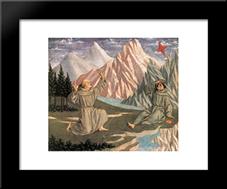 The Stigmatization Of St. Francis: Modern Black Framed Art Print by Domenico Veneziano