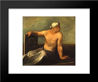 A Personification Of Geometry: Modern Black Framed Art Print by Dosso Dossi