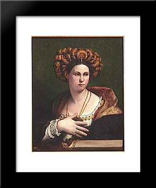 A Woman: Modern Black Framed Art Print by Dosso Dossi