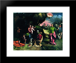 Adoration Of The Magi: Modern Black Framed Art Print by Dosso Dossi