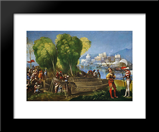 Aeneas And Achates On The Libyan Coast: Modern Black Framed Art Print by Dosso Dossi