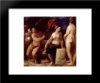 Allegory Of Music: Modern Black Framed Art Print by Dosso Dossi