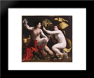 An Allegory Of Fortune: Modern Black Framed Art Print by Dosso Dossi