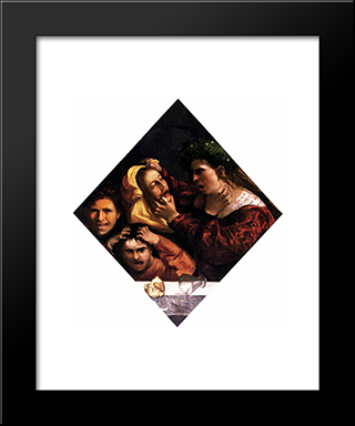 Anger Or The Tussle: Modern Black Framed Art Print by Dosso Dossi