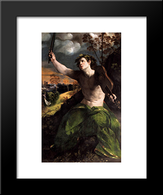 Apollo And Daphne: Modern Black Framed Art Print by Dosso Dossi