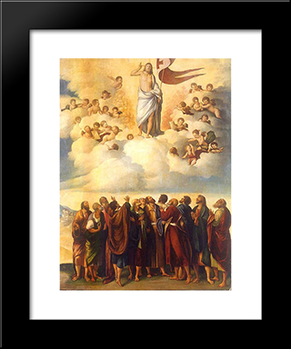 Ascension Of Christ: Modern Black Framed Art Print by Dosso Dossi