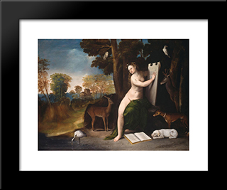 Circe And Her Lovers In A Landscape: Modern Black Framed Art Print by Dosso Dossi