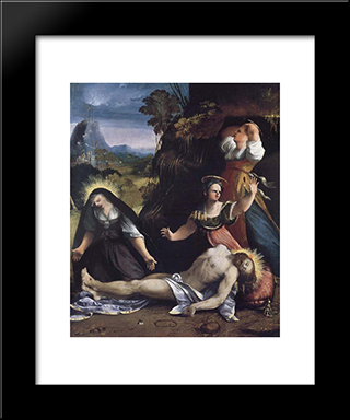 Lamentation Over The Body Of Christ: Modern Black Framed Art Print by Dosso Dossi
