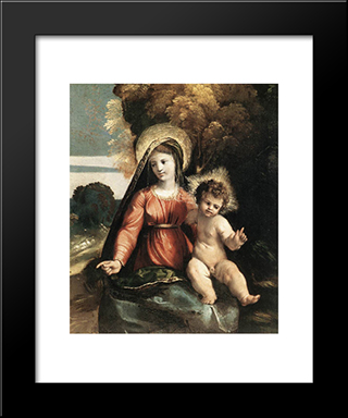 Madonna And Child: Modern Black Framed Art Print by Dosso Dossi